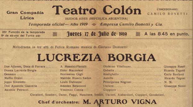 Cartel de Lucrezia Borgia en el Teatro Colón con Beniamino Gigli