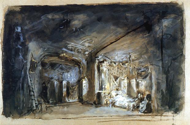 Acto III Boceto de Lila de Nobili – Teatro alla Scala, 1954