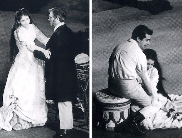 Callas con Bastianini y Di Stefano en el Acto II - 1  fotos: Erio Piccagliani – Teatro alla Scala, mayo de 1955