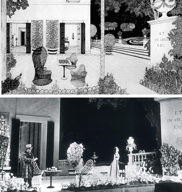 Fotos 30 & 31- Acto II – Cuadro 1- Boceto de Nato Frascà – Covent Garden, 1967. Piero Cappuccilli y Mirella Freni durante el dúo