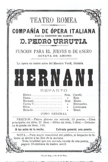 Cartel de Ernani fechado en 1891