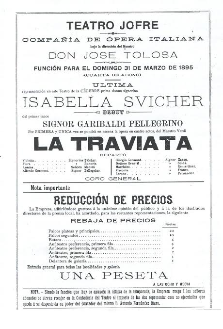 Cartel de La Traviata en el Jofre