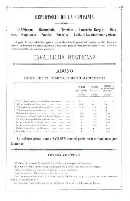 Repertorio y precios de abonos de la Compañía de José Tolosa
