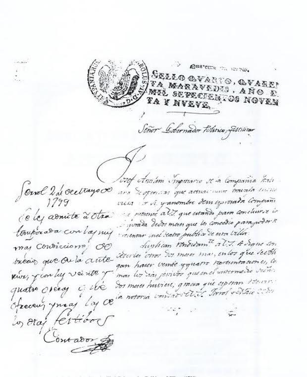 Instancia del empresario italiano Josef Ancinelli al Gobernador Político y Militar (1799)