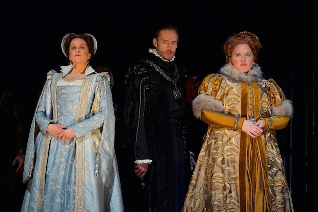 Joyce El-Khoury (Mary Stuart), Michael Todd Simpson (Cecil) and Keri Alkema (Elizabeth I). Jacob Lucas photo