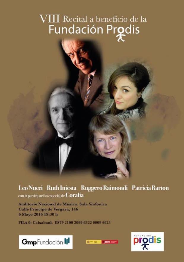 Concierto a favor de PRODIS en el Auditorio Nacional con Ruth Iniesta, Nucci y Raimondi