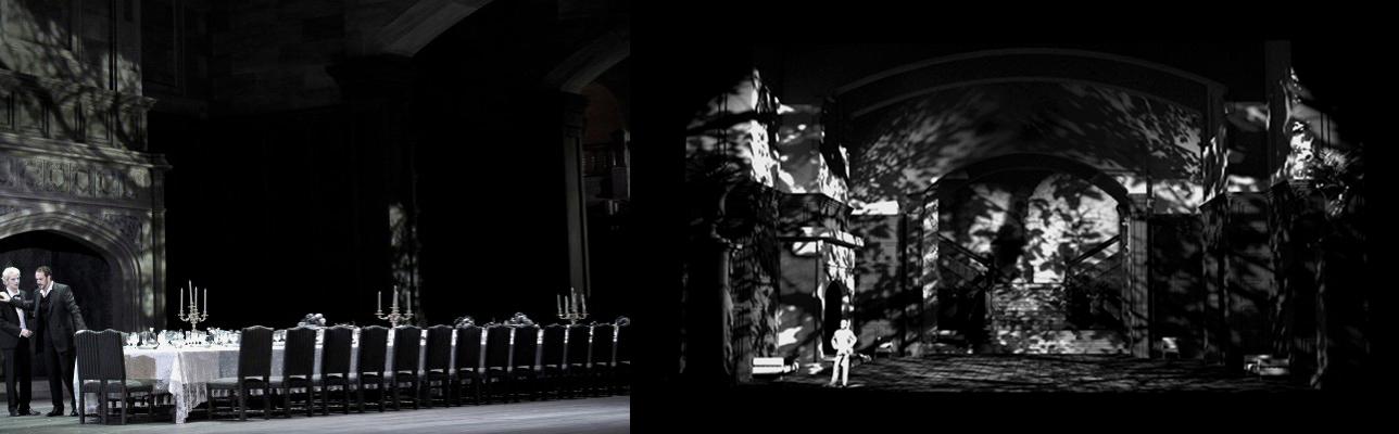 Banquete y bosque a través del ventanal de la boca del escenario.