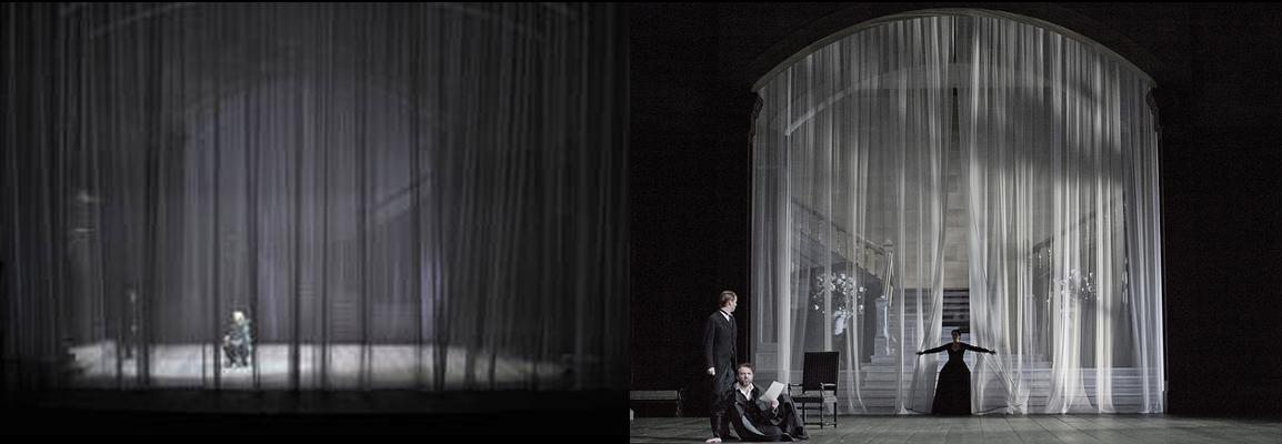 Preludio del primer acto (Foto: A. Bofill) y entrada de Lady Macbeth (Foto: GTG - Monika Rittershaus).