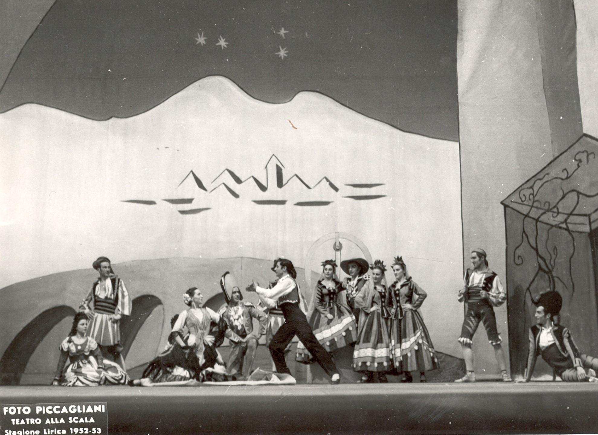 Mariemma y Antonio en La Scala de Milán protagonizando El sombrero de tres picos de Leonide Massine. Temporada 1952-53