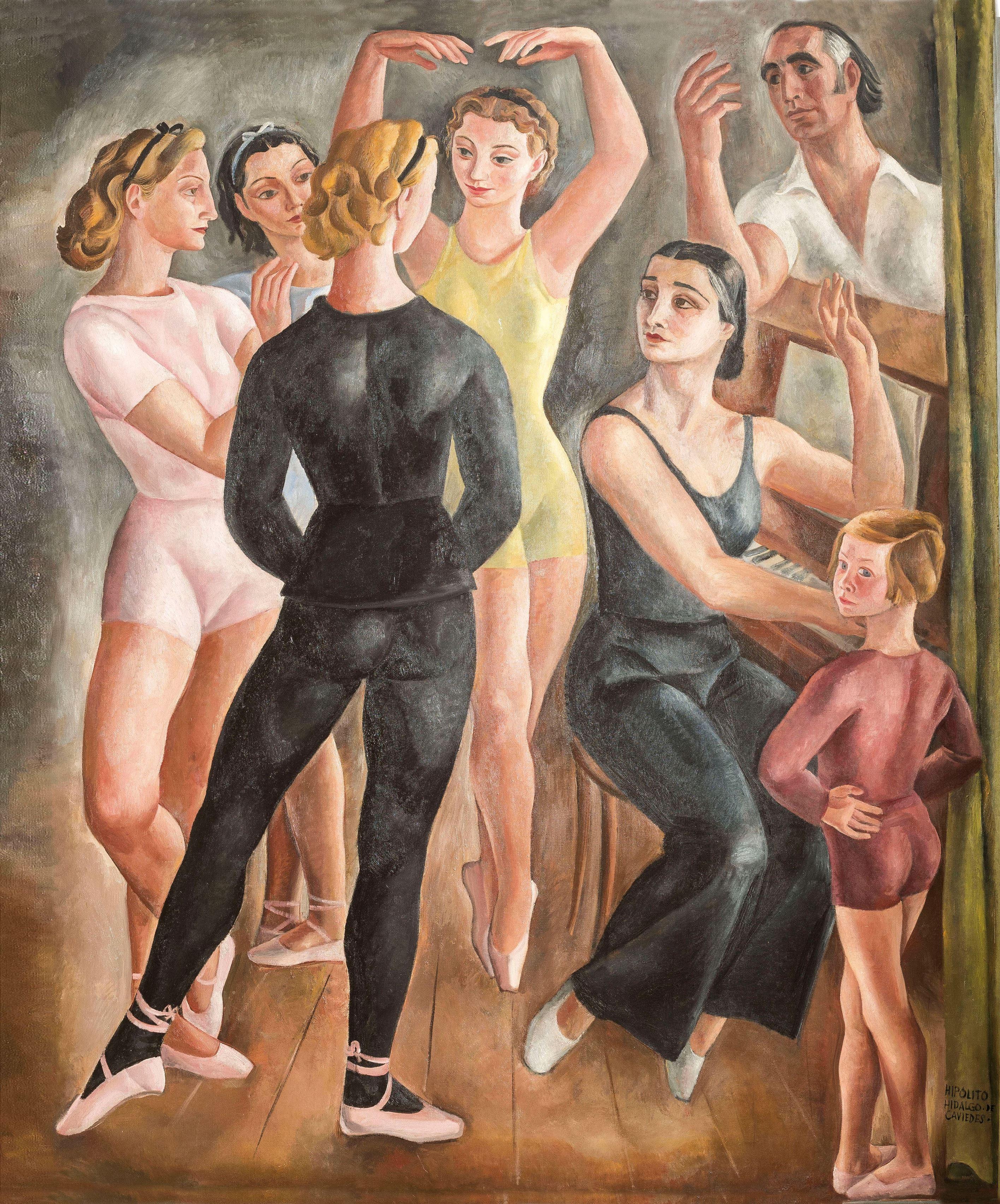 Hipólito Hidalgo de Caviedes, Gerardo Atienza y María Brusilovskaya con sus discípulas, 1934. Óleo sobre tela, 207 x 170 cm. Colección particular, Burgos.