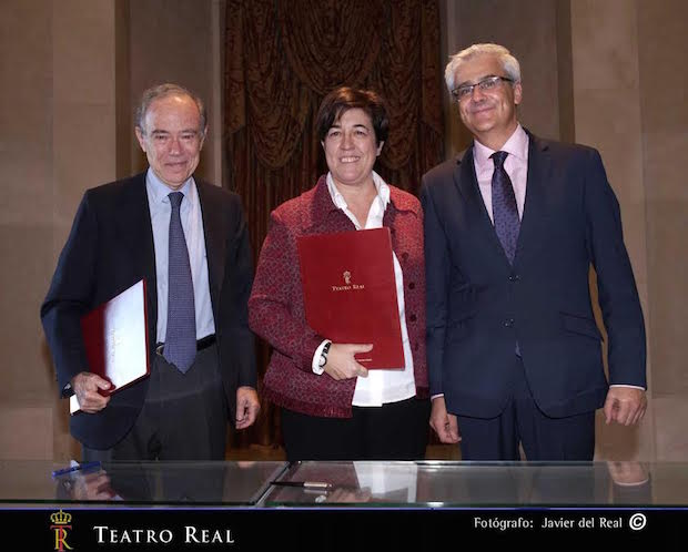 Gregorio Marañón, Presidente del Teatro Real, Elena Pisonero, Presidenta de Hispasat, e Ignacio García Belenguer, Director General del Teatro Real
