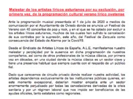 Comunicado ALE respecto a la agenda cultural de verano de Oviedo