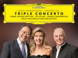 Carátula del álbum Triple concerto, interpretado por Yo-Yo Ma, Anne-Sophie Mutter y Daniel Barenboim.
