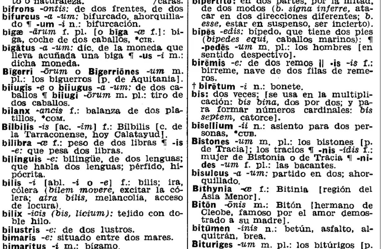 Página del Diccionario Latín-Español de Vox
