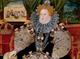 Isabel I de Inglaterra pintado (hacia 1590) por George Gower.
