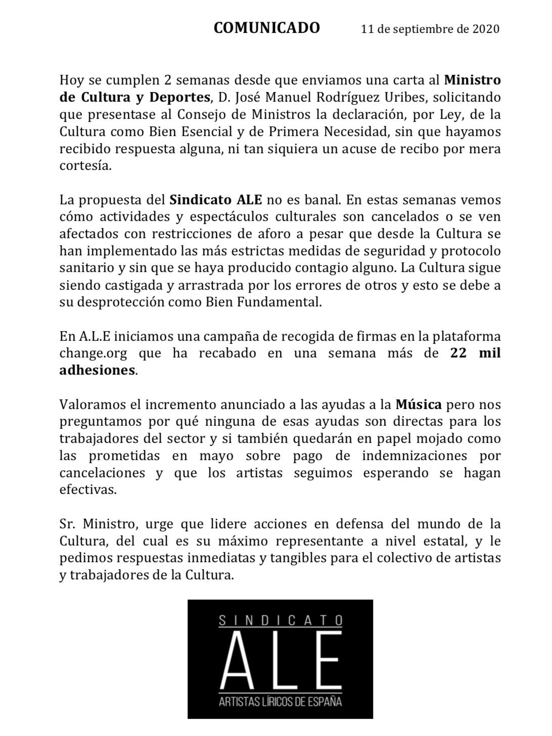 Comunicado, con fecha de hoy, del Sindicato de Artistas Líricos de España
