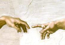 """Michelangelo Buonarroti, detalle de la bóveda de la Capilla Sixtina, """"La creación de Adán""""."""