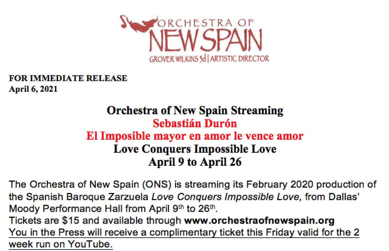 Foto del comunicado de prensa recibido en la redacción de Opera World Al imposible mayor le vence la Orchestra of New Spain