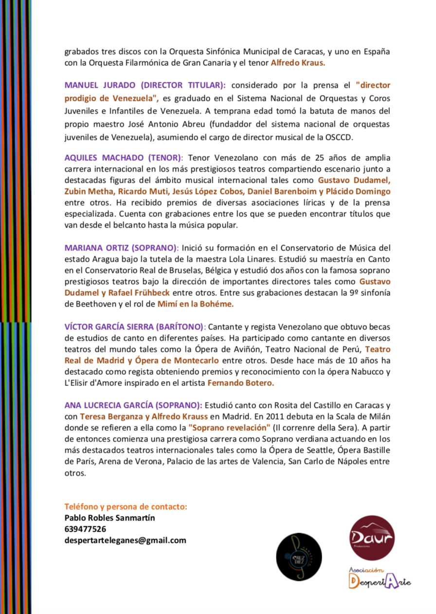 Segunda página de la nota de prensa de la Orquesta Cruz-Díez