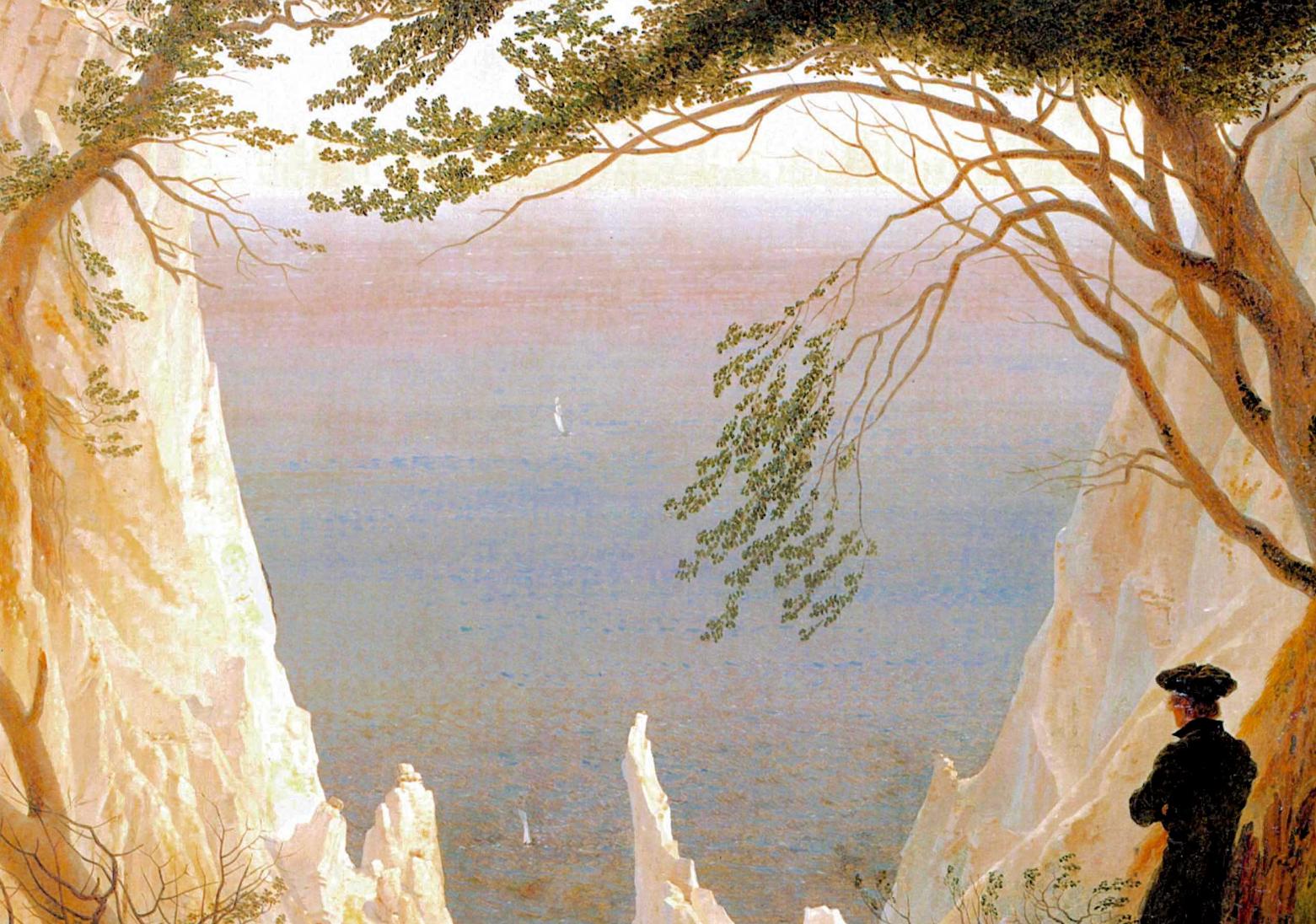 Caspar David Driedrich (1818): Acantilados blancos en Rügen (detalle).   Kunstmuseum, Winterthur (Suíza)