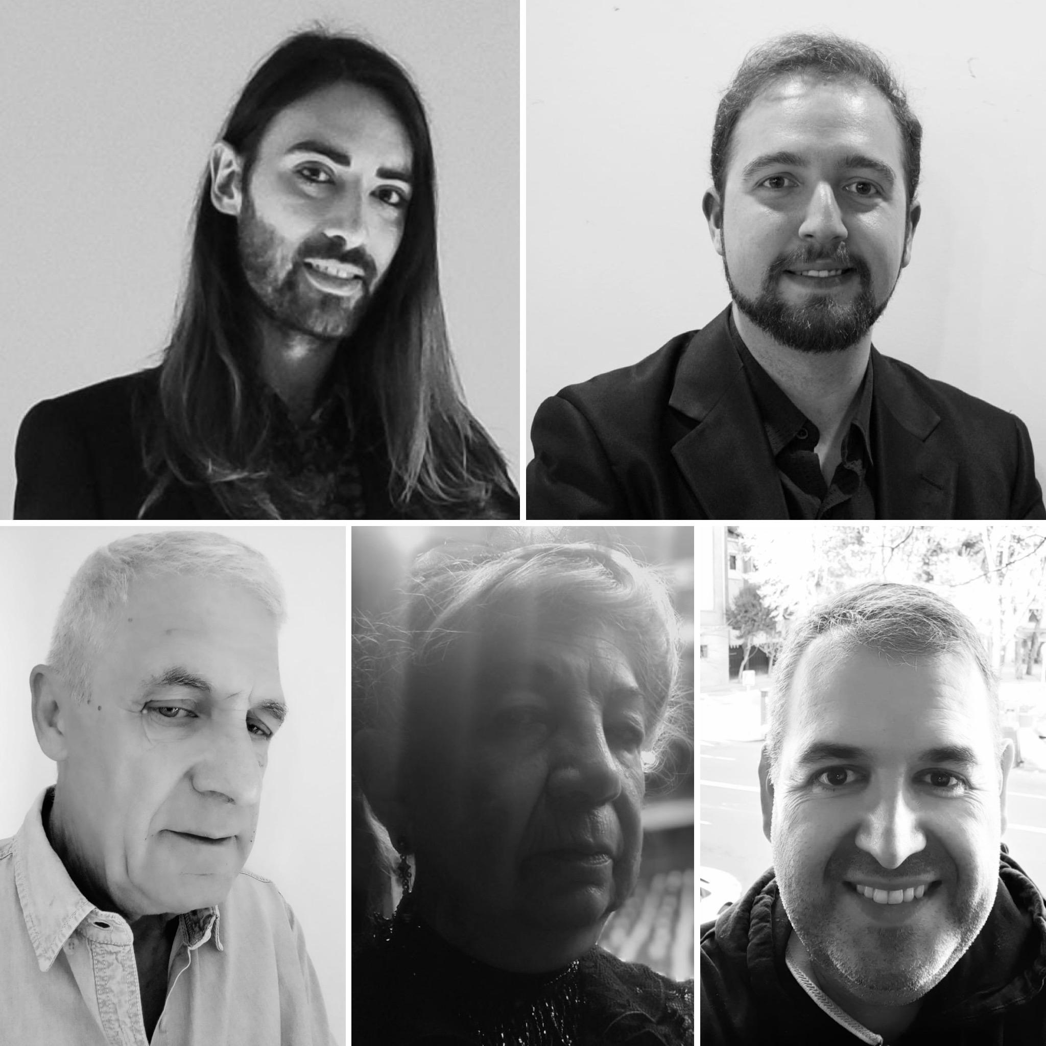 En el sentido de las agujas de un reloj: Alex Bometon (Nicolás), Ángel Luz Martín (Sánchez), Raúl Pérez (López), Encarnación Vázquez (Casimira) y Julio Valiño (Pérez).