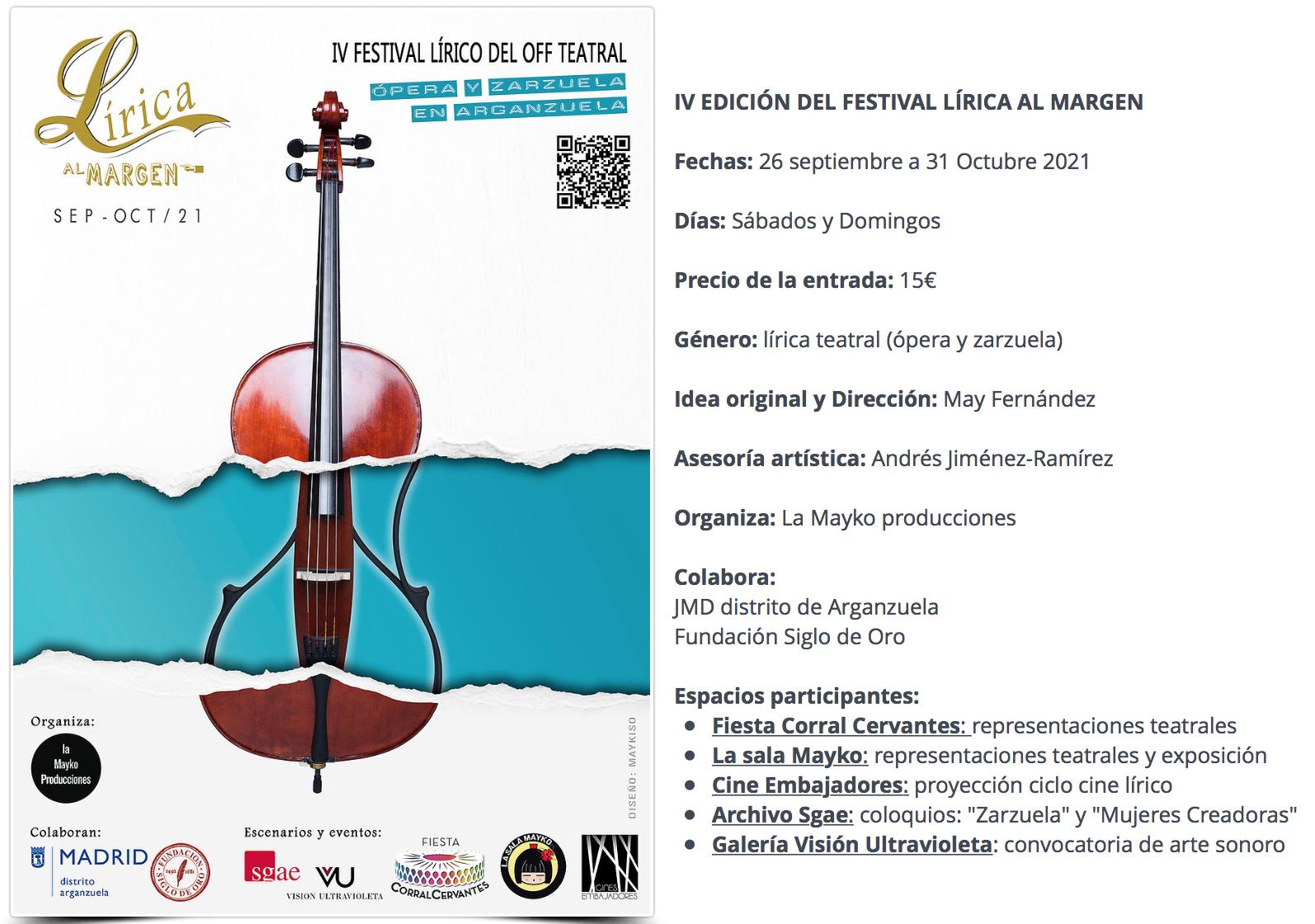 Cartel del VI Festival de Lírica al Margen